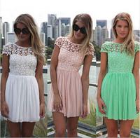 high waist Crochet Embroidered lace dress women casual summer dress Pleated Tulle backless dress Chiffon Dress R801