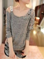 Hollow Design Long Sleeve Fashion Lace Embroidery Crochet Shoulder Lace Women Girl Blouse Tops Shirt Women CX851936