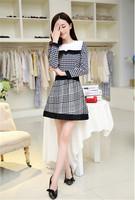 Newest Design European Women Leisure Dresses  Female Plover Big Star Autumn and Winter Dress Plaid Women Dresses CX851923