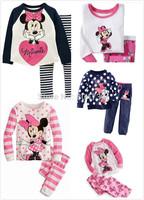 Free shipping 120set Girls Long Sleeve Pyjamas Baby Toddler Kids Sleepwear pjs Children Pyjamas Baby sleepwear