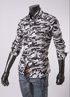 New 2014 Fall Winter Men Shirts british Fashion Camouflage Slim Men lapel Shirt Free Shipping Promotions