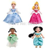 Original Princesses Dolls Cinderella Princess Auror Jasmine Tiana Plush Dolls 30CM Bonecas Princesas Brinquedos Dolls for Girls