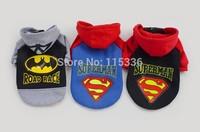 2013  hotsale  batman superman dog clothes dog hoodie can mix color and size pet clothes