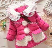 2014 winter new Girls Sweety Korea Style Coat  Single Breasted Long Cotton-padded Coat Girls winter warm Coat