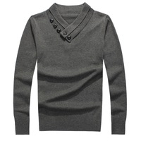 Button Decorate V Collar Men Autumn Sweaters Size M-2XL Winter Pure Color Black / Grey Man Fashion Slim Pullovers Cotton Tops
