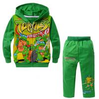 2014 NEW winter boys cartoon character long sleeve clothing sets kid's Teenage mutant ninja turtles design hooded clothing suits
