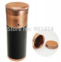 COHIBA Large Black&Gold Aluminium Alloy Cigar Jar Tube Humidor W/Humidifier  -free shipping