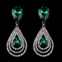2014 Fashion Sparkling Rhinestone Crystal Drop Earrings Women Brincos Accessories With High Quality