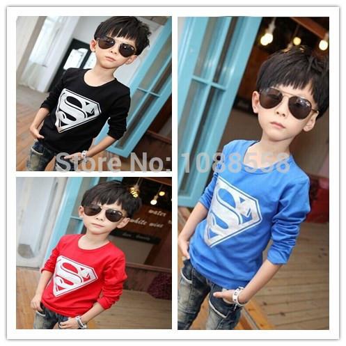 New 2015 girl boys' t-shirts, superman cotton long sleeve t-shirt, printing children's cartoon tee, kids boys kids' clothes(China (Mainland))