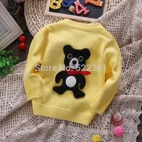Hot new style 2014 autumn baby boys cotton sweater fashion cute cartoon bear children cardigan sweaters red/yellow/green