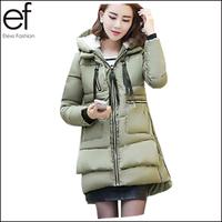 Lanluu High Quality 2014 Winter Thicken Parkas Women Long Military Down Cotton Coats SQ894