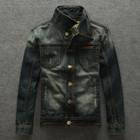2014 new fashion mens denim jacket men's Clothing street motorcycle Jean jacket BRAND ZIPPER coat Autumn WINTER free shipping