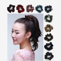 20PCS screw thread pattern velvet hair scrunchies elastic hair bands ties holder 10 colors