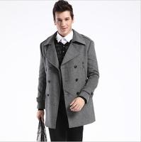 Men's UK Style High Quanlity Stylish Woolen Trench Coat Windcoat Black Grey,M-XXXL,Business suit collar wool coat HOVD3H039