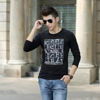 Factory direct new fall trend men's round neck long-sleeved t-shirt Slim primer shirt printing