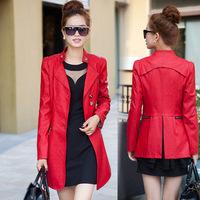 2014 Autumn Winter Pu Plus Size Spliced jaquetas Lace Ladies' Motorcycle Bomber Jackets Women' Faux Leather Long Coats 9009