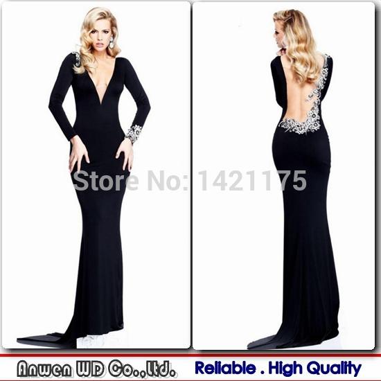 Sleeve evening dresses black deep v neck mermaid chiffon beaded long