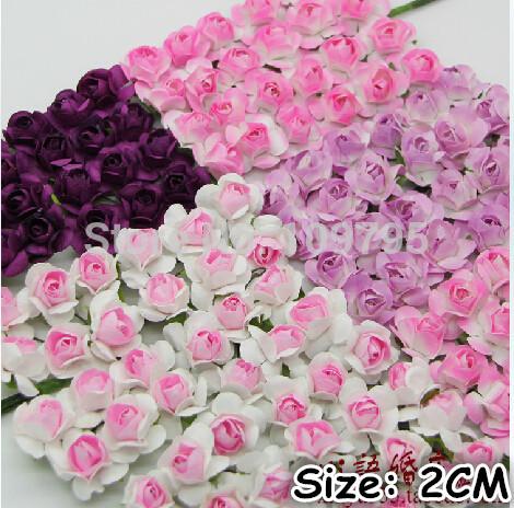 288 pieces/lot small rose bouquet scrapbook decor handmade paper flowers wedding decorations size 2cm(China (Mainland))