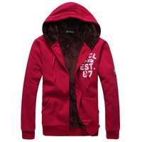 The all-new 2014 winter hot male taxi thick warm velvet embroidered cardigan hoodie fashion alphabet male sports jacket M-XXL