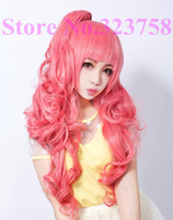 Popular Cherry Pink Cosplay wig Heat Resistant Long Wave Wig Cute Long Hair for girls
