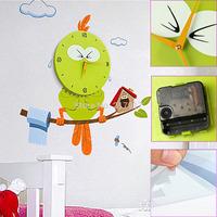 Green Bird Environmental Wallpaper+Cartoon Wall Clock Christmas Gift for Boy Girl Children Room Decoration