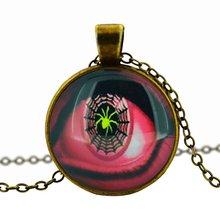 glass cabochon pendant necklace art picture antique Bronze chain necklace vintage eye necklace jewelry fashion women