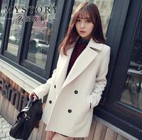 2014 Autumn Winter High Street Boyfriend Style Coat Slim Brief Solid Vintage Korea Trench Ladies Wool Cardigan Desigual Trench