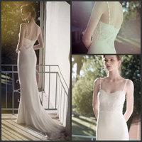 Robe De Mariage 2015 New Sexy Spaghetti Strap Lace Top Beach Wedding Dresses Chiffon Backless Bridal Gown Custom Made ZY012