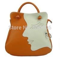 2 Colors New High Quality Korean Genuine Leather Fashion Women Girl Beauty Face Handbag Lady Shoulder Cross-Body Messenger Bag