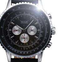 2014 new fashion winner calendar multi function men big dial genuine leather luxury classic mechanical self wind wrist watch