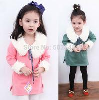 2014 Autumn Winter Girls Fur Collar Dress Children Baby Non-inverted Velvet Long Sleeve Dress Kids Clothes Free Shipping 5 PCS