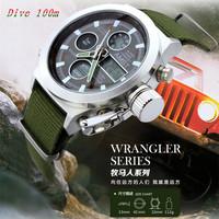 2014 Brand AMST 3003 swimming digital led quartz watch relogio masculino dual display Genuine leather outdoor men wristwatch