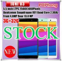 Multi Language 4G LTE unlocked cellular cell phone IUNI U3 3GB RAM 32GB ROM Snapdragon 801 Quad Core 2.3GHz 5.5 '' 2560*1440