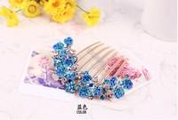 Hair accessories wholesale Korea Rhinestone seven tooth comb hairpin headdress  petal bride's hair jewelry