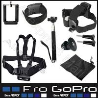 Sj5000 sj4000 Gopro Accessoriess Go pro hero 3 hero3 Hero 2 3 4 Black Edition For Action Camera Chest Head helmet Hand Mount