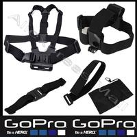 5 Pcs Gopro Accessories kit Chest Belt+WiFi Remote Wrist Belt+Head Strap Mount+Helmet Strap+Bag Gopro Hero 3 Black Edition