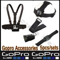 Sj5000 Sj4000 Gopro Accessories Chest Harness WiFi Remote Wrist Head Strap Mount Helmet Bag Go pro Hero3+ 4 3 2 Black Edition