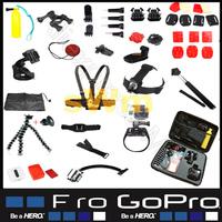 Gopro accessories Kit & Set For Go Pro Hero 3 With Full Sj5000 & Sj4000 Accessories Like Monopod Tripod Mount Chest Head Strap