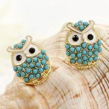 Мода перлы год сбора винограда сова серьги ювелирные изделия прекрасный тонкий стильный серьги, животные стержня уха серьги орать Y50 MHM452