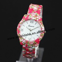 200pcs/lot,Promotion Floral Printing wristwatch Geneva Quartz Watches Women Fashion Flower Dress Watches Free Shipping