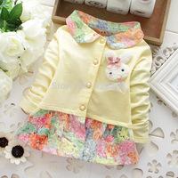Spring and autumn new style baby girls cardigan coat colored flowers beautiful children kids cute cartoon rabbit coat fashion