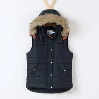 Fall Winter Coat Jacket Women Detachable Fur Collar Leather Spliced Cotton Vest Warm Hooded Vest Fashion Ladies' Waistcoats
