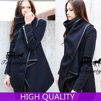Women's Coats 2015 New Autumn Winter Coats Women Full Sleeve Zipper Solid Woollen Coat Desigual Wool Overcoat Abrigos Mujer