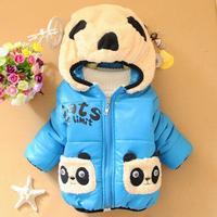 2014 New Winter Panda Clothes Baby Boys Girls Warm Outerwear Hoodies Fleece Cartoon Down Coat Jackets Fit 6-24M 4Colors