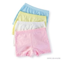 Kids Underwear Girls Lace Cotton Boxer Child Safety Panties Underpants Pink White Yellow Panties Next Calcinha Infantil  D333