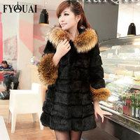 FYOUAI Women Fur Coat  Winter Jacket Women NEW 2014 Fashion Slim Fur Collar Mink Coat Long style Outdoor Fur Coat