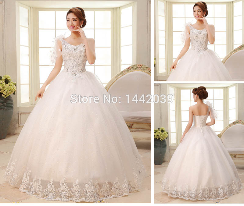 Hot Cheap Ball Gown Tulle Wedding Dresses One Shoulder Big Puffy Princess Lace Skirt Diamond