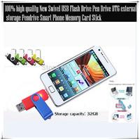 Free Freight New Swivel 32GB USB Flash Drive Pen Drive OTG external storage Pendrive Smart Phone Memory Card Stick  2 PCS