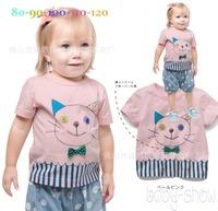 New Fashion Grils Set 2pcs Short Sleeves T-shirt  Stripes Print Pants Kids Suit   K6314
