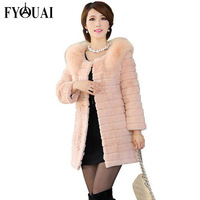 FYOUAI Winter Women Coat  Rabbit Fur Long Style Fur Coat For Woman NEW Big Fur Collar Warmth Winter Coat  Outdoor Coat